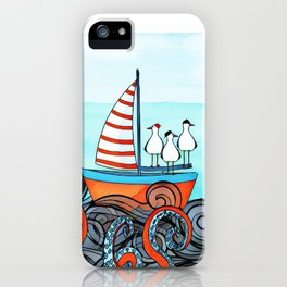 Seagull and little boat iPhone Case