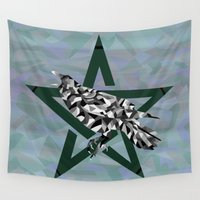 pagan Wall Tapestries featuring Mosaic Crow and Pentacle  by Watch House Design