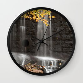 Rock Wall Autumn Falls Wall Clock
