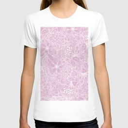 Modern trendy white floral lace hand drawn pattern on mauve pink lavender T-shirt