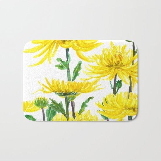 Yellow Chrysanthemums Bath Mat