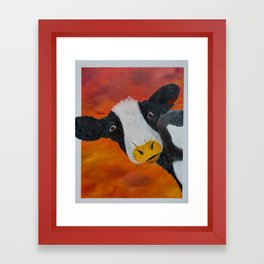 Through the storm with Irma the cow Framed Art Print