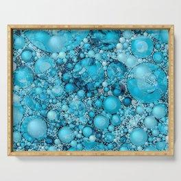 Ocean Atlantic Blue Bubble Abstract Serving Tray