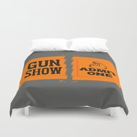 anchorman Duvet Covers featuring Ticket to the Gun Show by Morkki