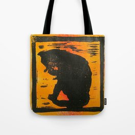 Cat sitting & licking silhouette, Lino print Tote Bag