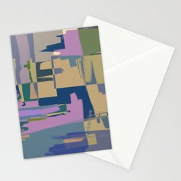 Pale Existence - Abstract, pastel purple, blue, mustard and green painting Stationery Cards