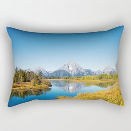 Near the Snake river looking toward Mount Moran in the Grand Tetons. Rectangular Pillow