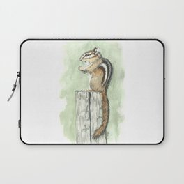 Chipmunk on a Fence Post - Watercolor Laptop Sleeve