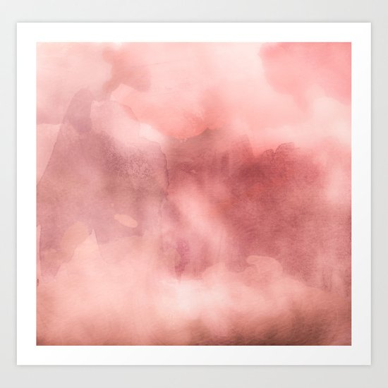 STORMY PINK WATERCOLOUR MARBLE STAIN Art Print