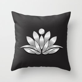 Silver Lotus Flower People. Good Fortune Design Throw Pillow