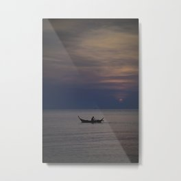 Rowing into the sunset II Metal Print