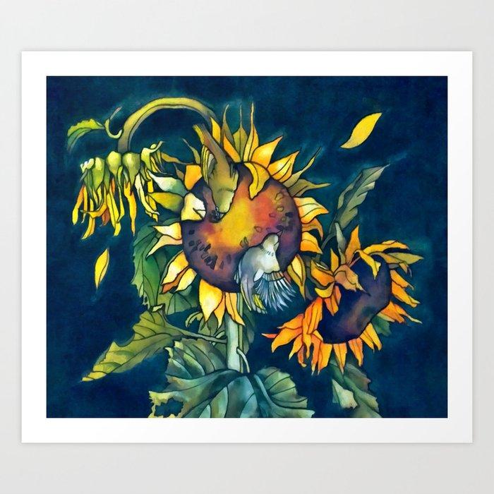 Sunflowers and birds Kunstdrucke