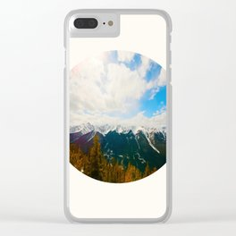 Mid Century Modern Round Circle Photo Snow Covered Mountains Meet Autumn Clear iPhone Case