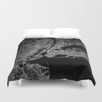 lorde Duvet Covers featuring New York map by Line Line Lines