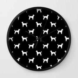Poodle silhouette black and white minimal modern dog art pet portrait dog breeds Wall Clock