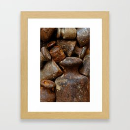 Very old and rusty weights for scales Framed Art Print