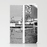 outdoor Stationery Cards featuring outdoor basketball court black and white by Dragonheart