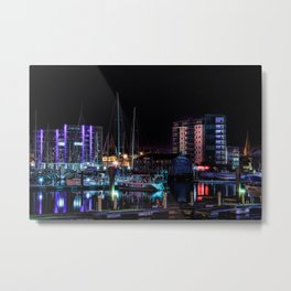 Barbican Marina By Night Metal Print