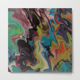 Rainbow Dreams - Acrylic Abstract Painting Metal Print