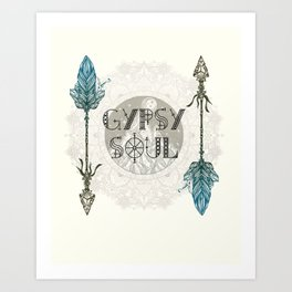 Gypsy Soul - Wanderlust Mountain Moon Tribal Arrows Hippy Mandala Art Print