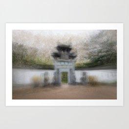 Impressionist photograph of the Chinese Garden, Frankfurt, Germany Art Print