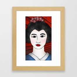 Geisha Red Framed Art Print