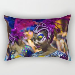 Costumed Attractive Dancer Woman at Carnival Parade of Uruguay Rectangular Pillow