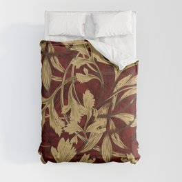 Native leaves with red and gold chevron Comforters