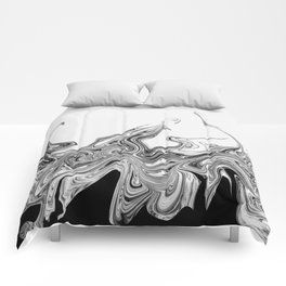 Modern contemporary Black and White Abstract Comforters