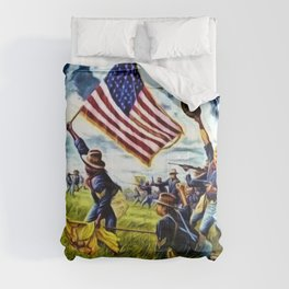 African American 9th Cavalry Buffalo Soldiers 1898 in Cuba, San Juan Hill landscape painting Comforters
