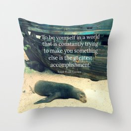 Inspiring Life quote beach theme Throw Pillow