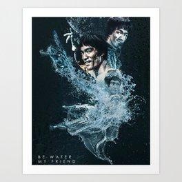 Lee Jun-fan - Bruce Martial Arts - Discipline Art - Hip Hop - Life - Respect  water Art Print