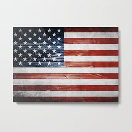 American Wooden Flag Metal Print
