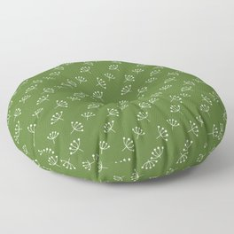 Green And White Queen Anne's Lace pattern Floor Pillow