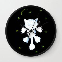 White stylized cat silhouette Wall Clock