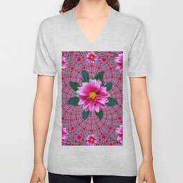 Purple Optical Art Floral Abstracted  Dahlias Pattern Unisex V-Neck