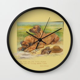 Rhodesian Ridgeback dogs painting & Quote of Karen Blixen Wall Clock