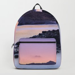 Half Moon Beach. Purple Sunset At The Mountains Backpack