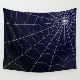 Spiderweb on Midnight Wall Tapestry