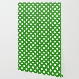 Slimy green - green - White Polka Dots - Pois Pattern Wallpaper