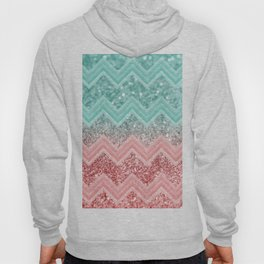 Summer Vibes Glitter Chevron #1 #coral #mint #shiny #decor #art #society6 Hoody