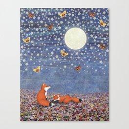 moonlit foxes Canvas Print