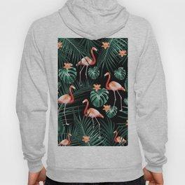 Tropical Flamingo Floral Night Pattern #1 #tropical #decor #art #society6 Hoody
