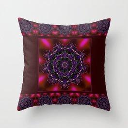 Purple and Green Modern Bejeweled Mandala Throw Pillow