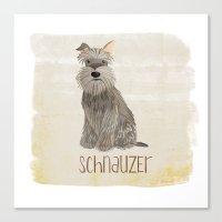 schnauzer Canvas Prints featuring Schnauzer by 52 Dogs