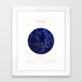 French March Star Map in Deep Navy & Black, Astronomy, Constellation, Celestial Framed Art Print