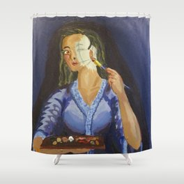 Putting on face. Shower Curtain