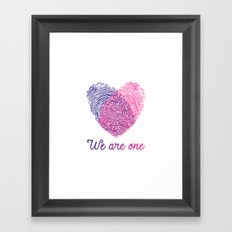 We are one - Valentine love Framed Art Print