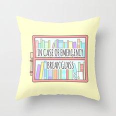 Emergency Bookshelf Throw Pillow