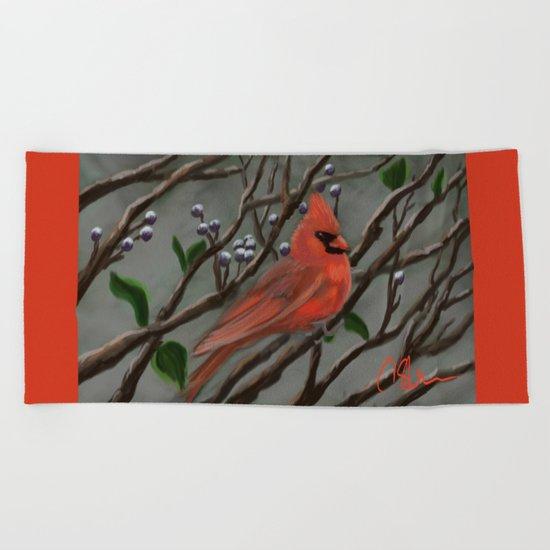 Male Cardinal DP151210a-14 Beach Towel